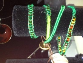 Wrap bracelet with faux leather cord.